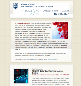 UBC Physics Astronomy Outreach Newsletter October 2014
